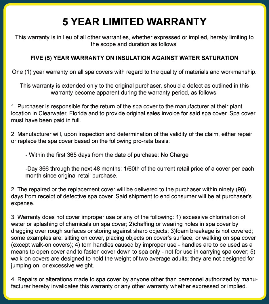 5 Year Hot Tub Cover Warranty